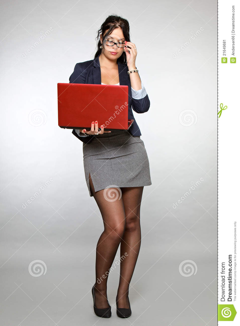 Secretary With Red Laptop Stock Image  Image 21649681
