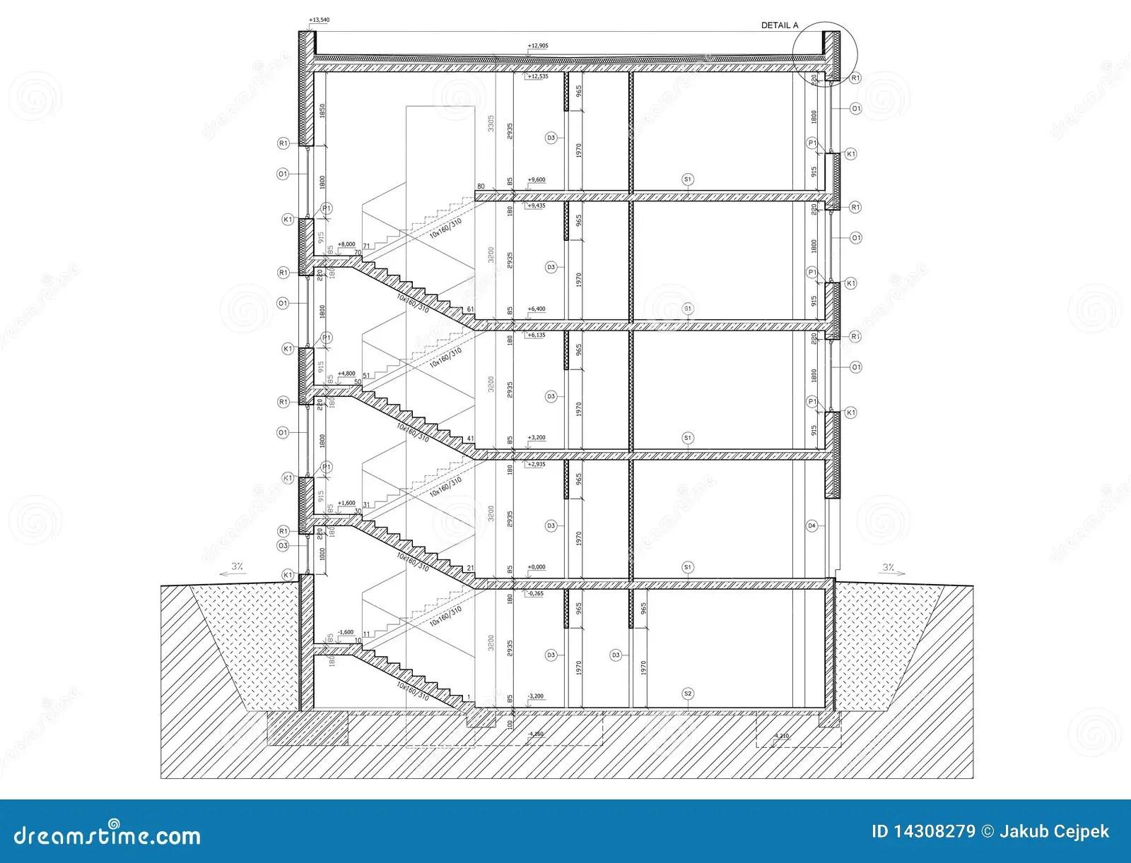 Section Transversale Du Petit Immeuble De Bureaux