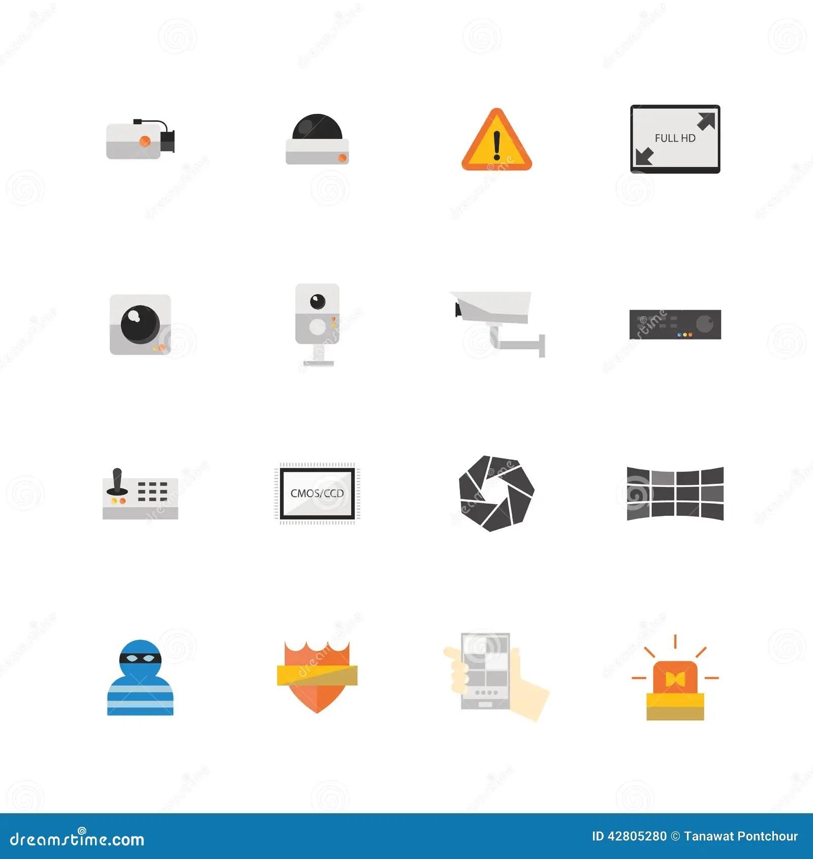 Security Camera Or CCTV Icon Set Stock Illustration