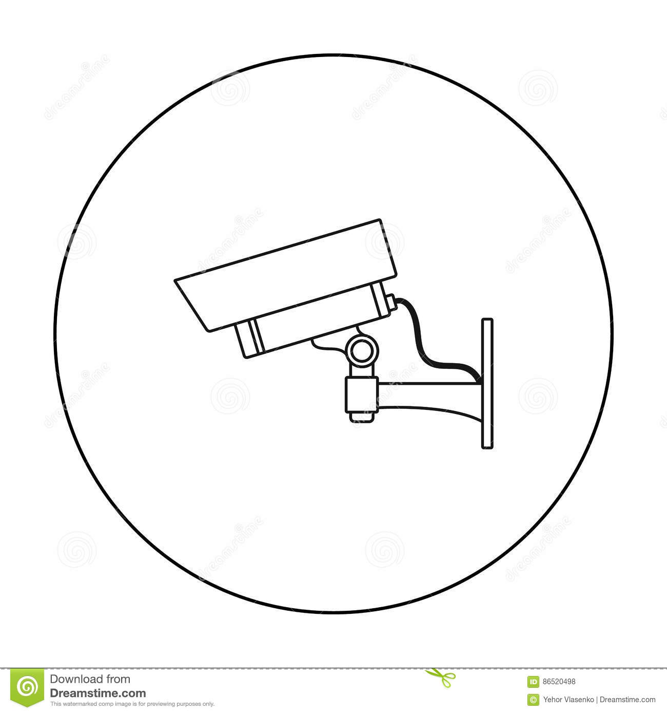 Security Camera Icon In Outline Style Isolated On White