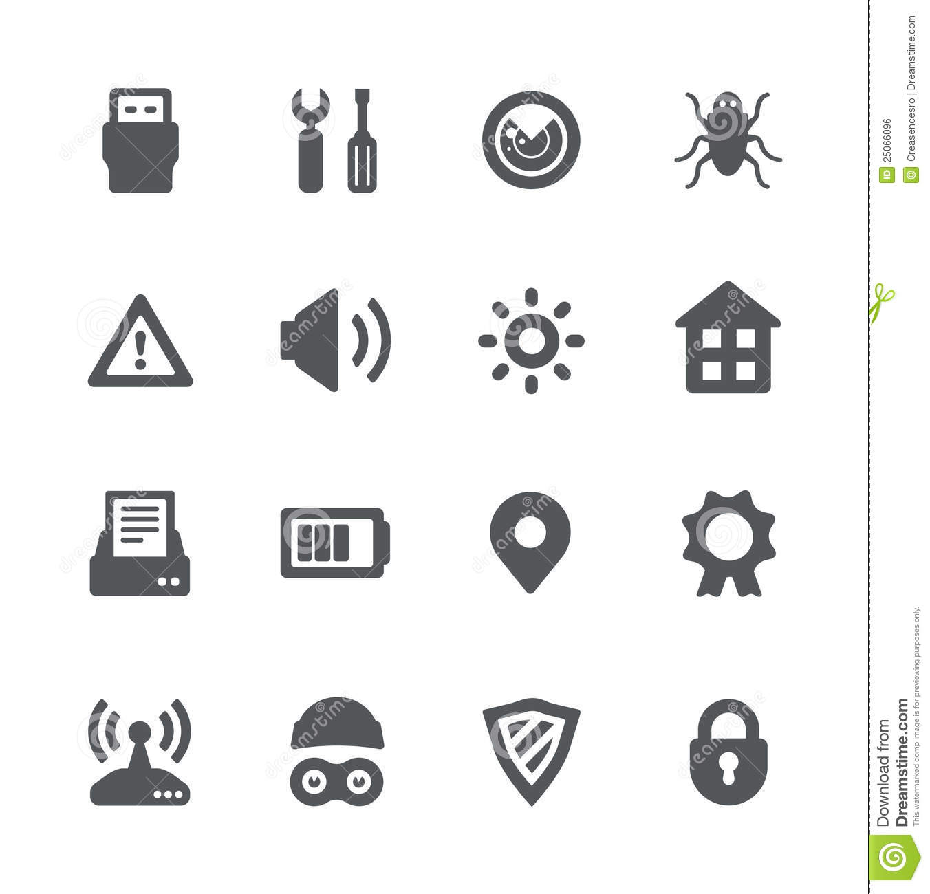 Security Device Simple Icons Stock Vector