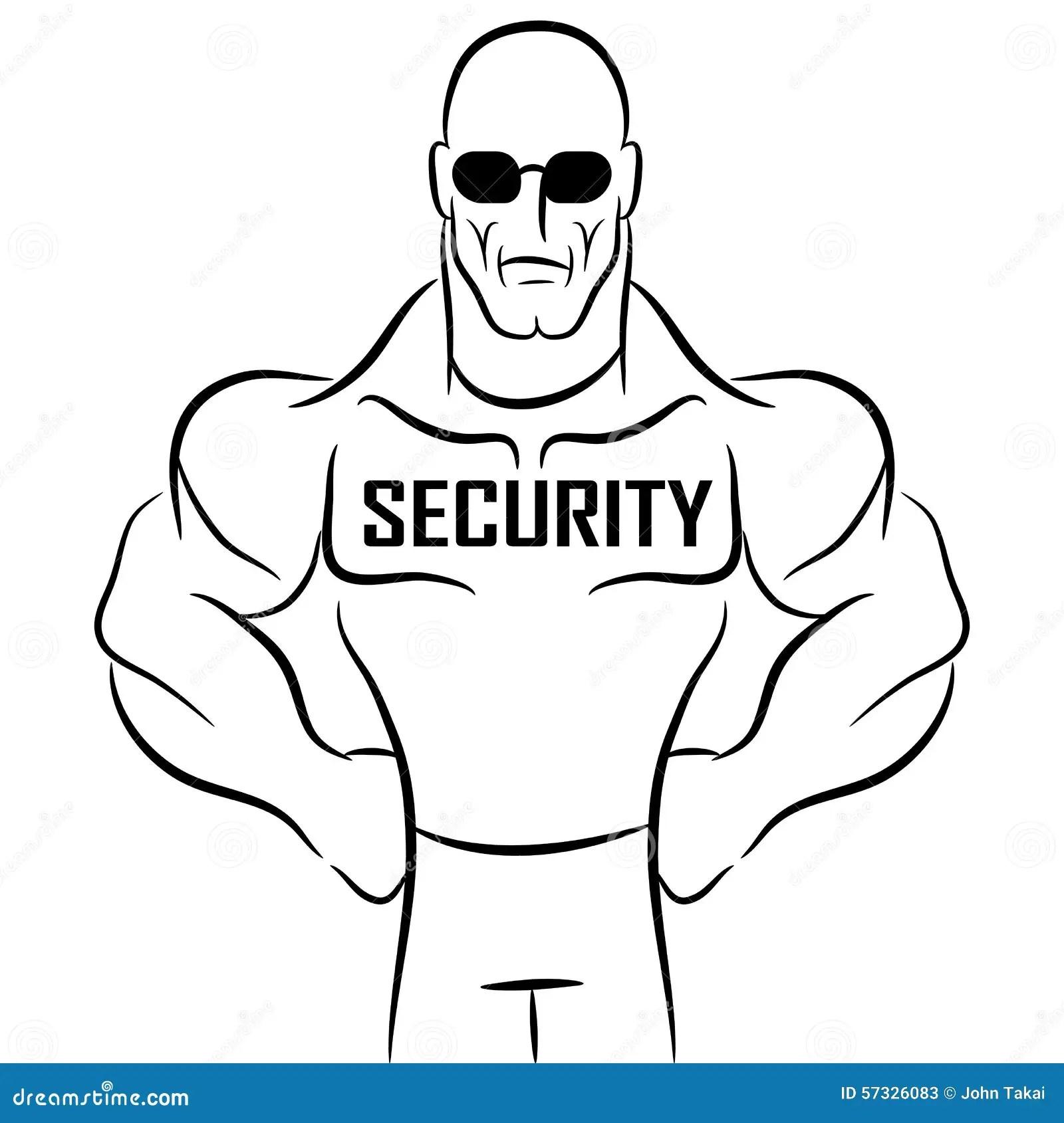 Security Guard Cartoon Stock Vector