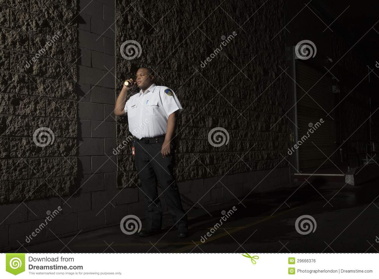 Security Guard Patrols At Night With Torch Royalty Free Stock Image  Image 29666376