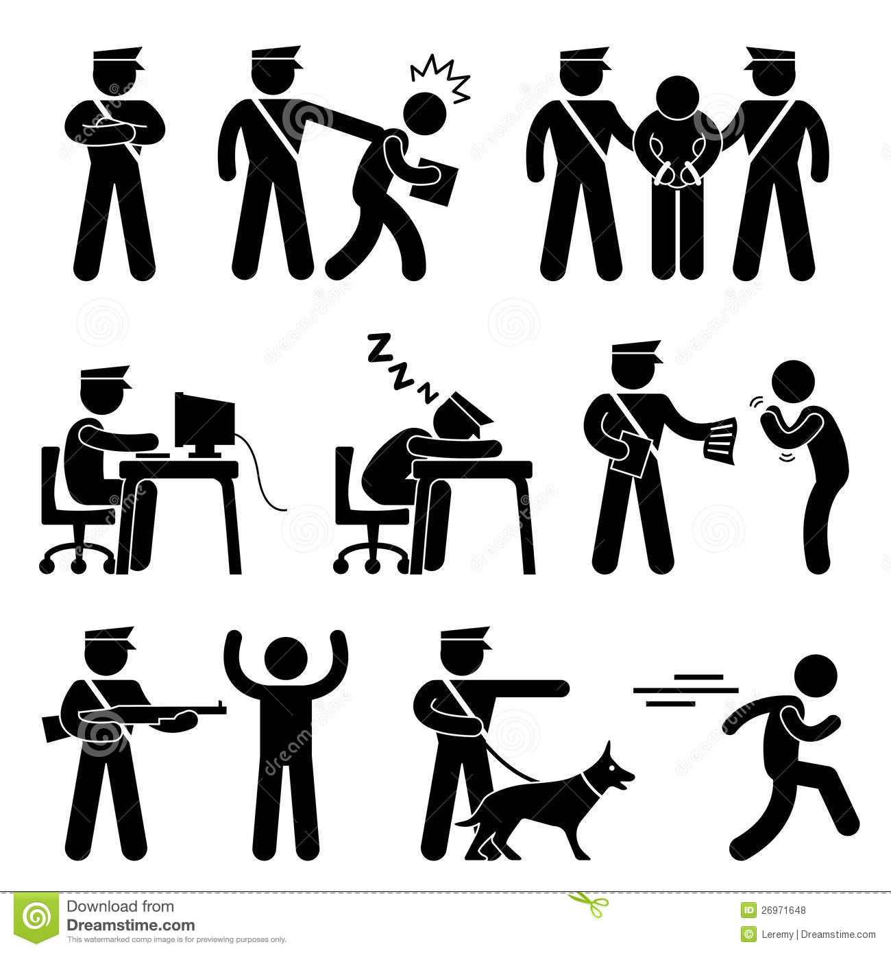 Security Guard Police Officer Thief Stock Vector
