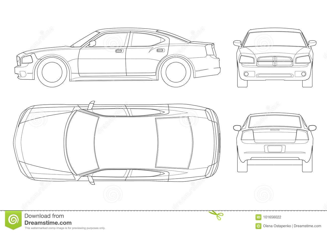 Car Sedan And Suv And Van All View Drawing Outlines Not