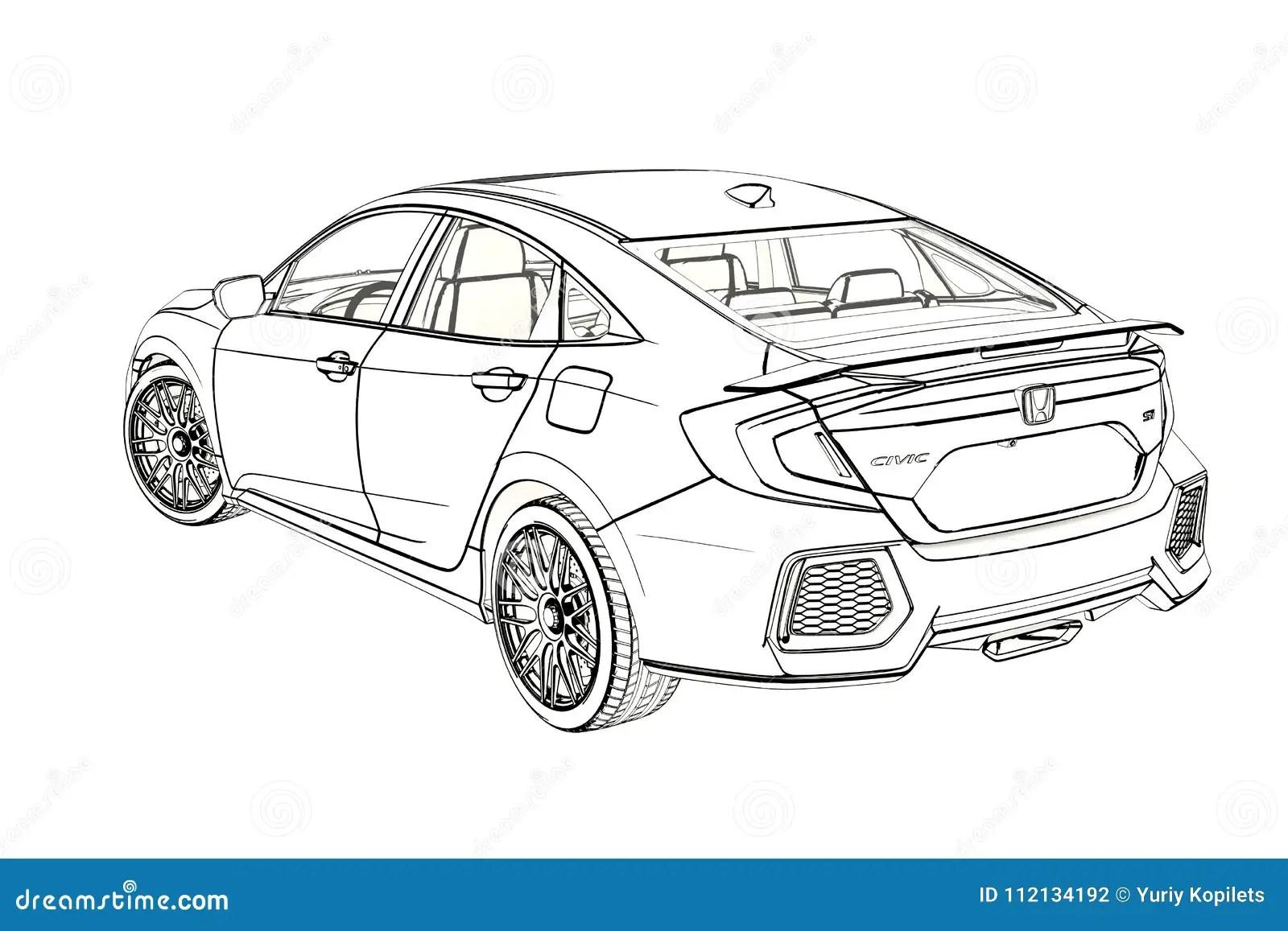 Sedan Honda Civic Graphic Sketch 3d Illustration