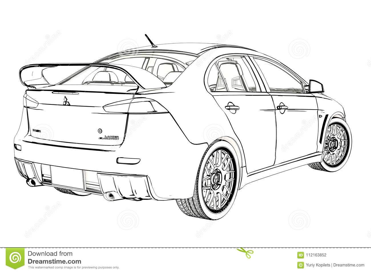 Sedan Mitsubishi Evolution X Sketch. 3D Illustration