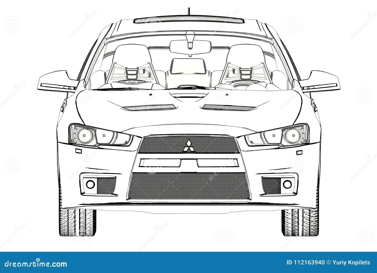 Sedan Mitsubishi Evolution X Sketch. 3D Illustration