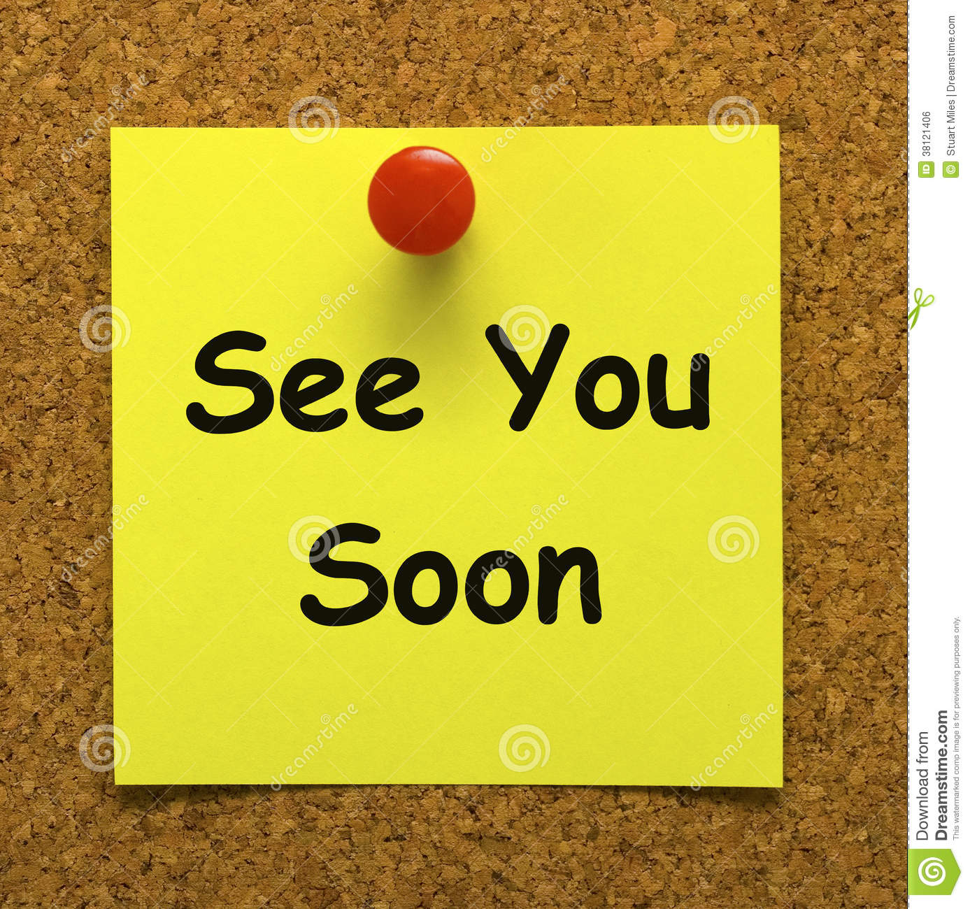 See You Soon Means Goodbye Or Farewell Stock Illustration