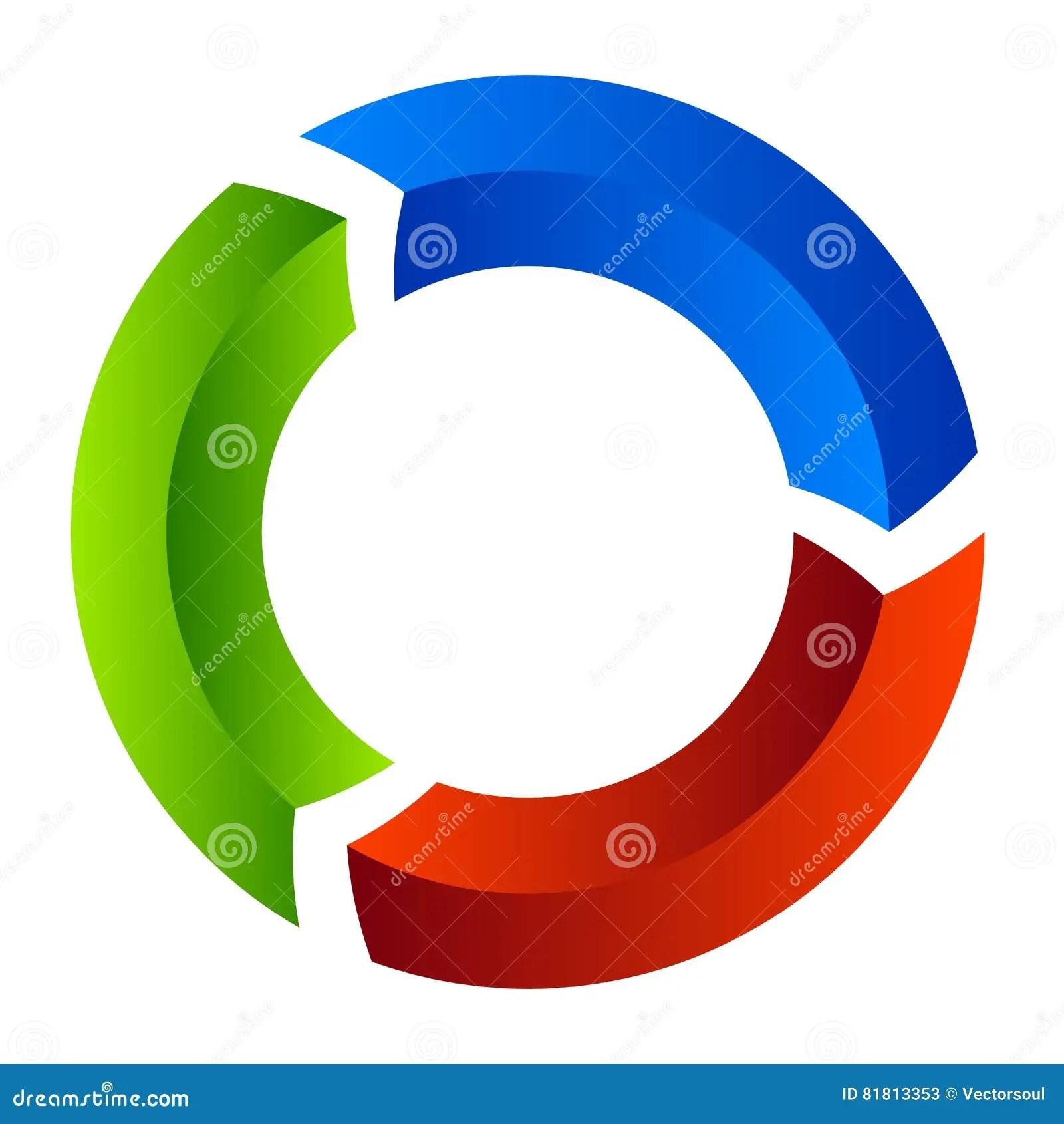 arrow circular process diagram how to solve venn segmented circle icon
