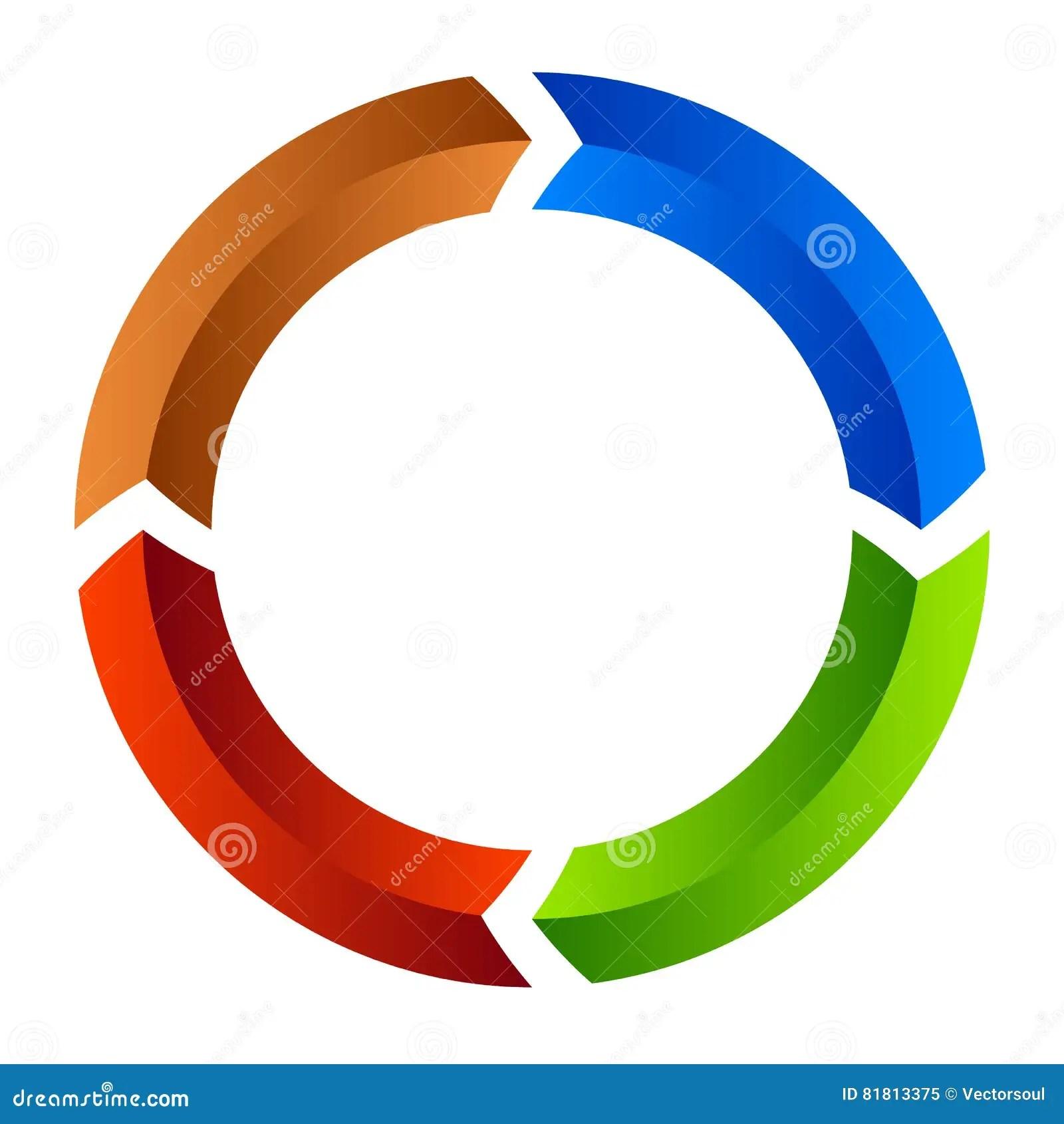 arrow circular process diagram 277v single phase wiring segmented circle icon