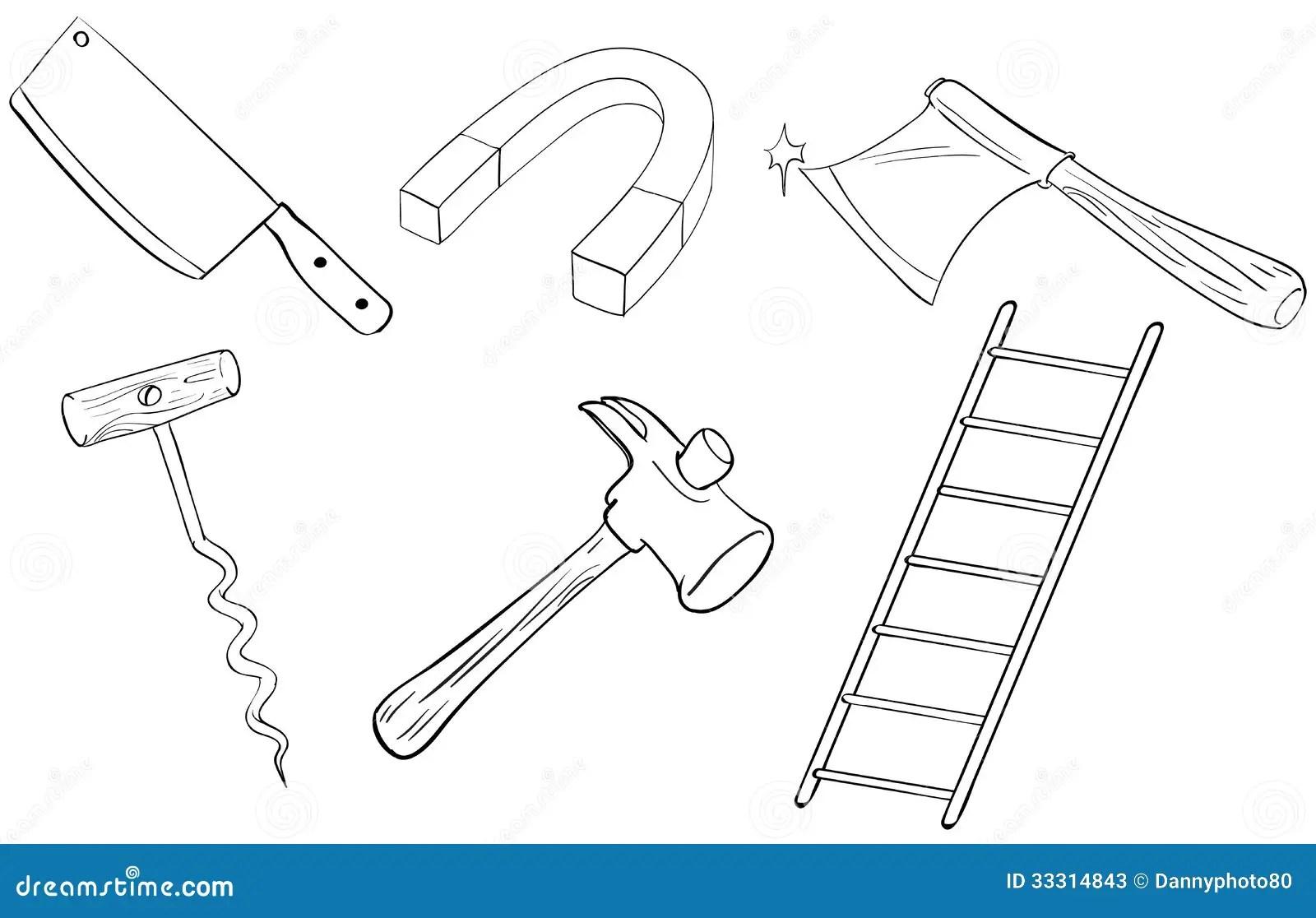 Seis Diferentes Tipos De Herramientas Ilustración del