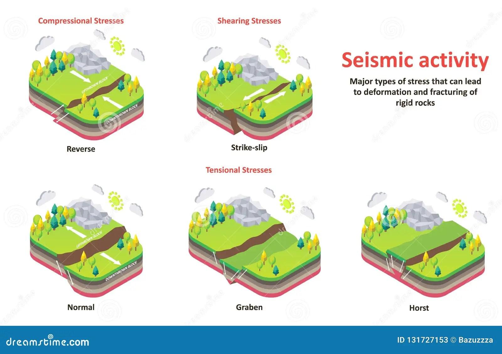 Seismic Activity Earth Crust Stresses Vector Isometric