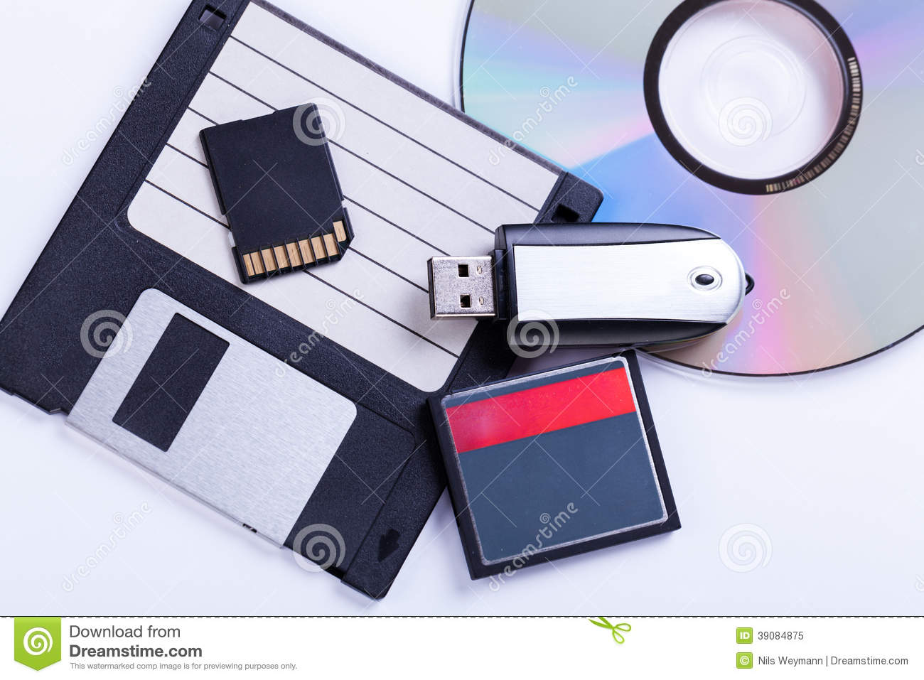 Selection Of Different Computer Storage Devices Stock