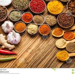 Red Kitchen Table Set Colorful Chairs A Selection Of Spices Top View Stock Image - Image: 35738469