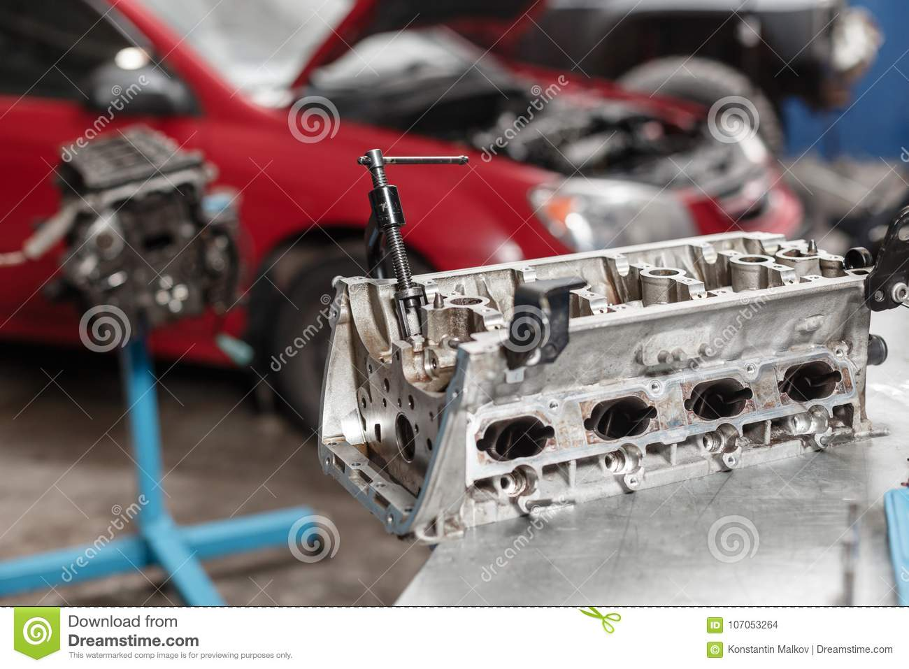 hight resolution of engine block on a repair stand with piston and connecting rod of automotive