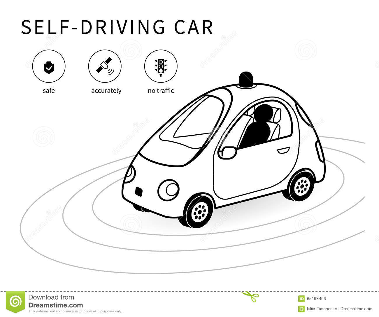 Self-driving car line icon stock vector. Illustration of