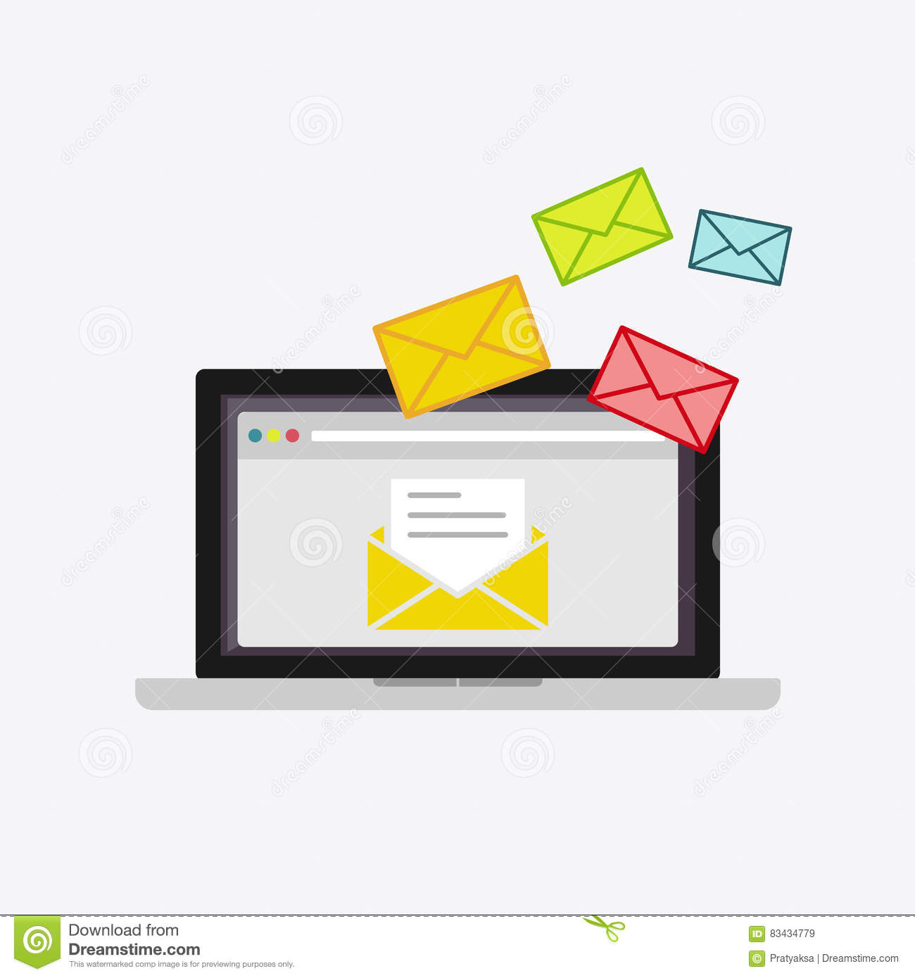 Email Messages On Computer Monitor Icon Cartoon Vector
