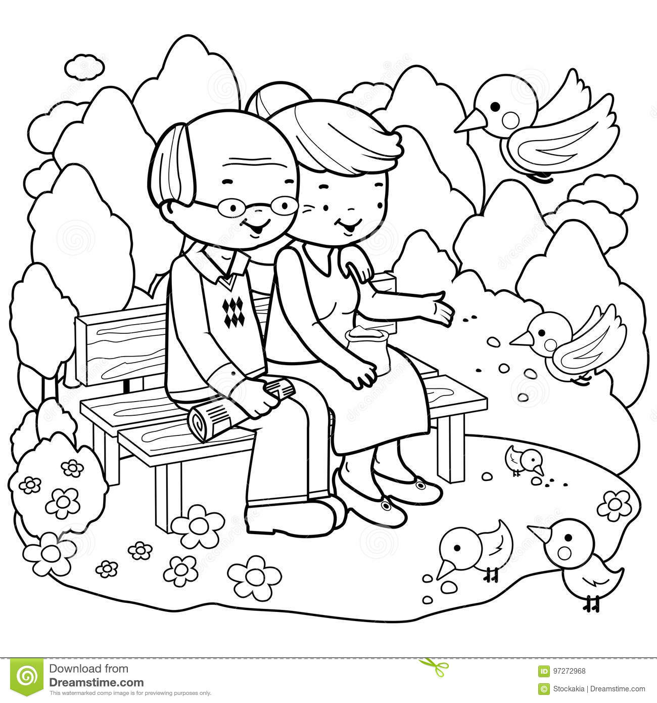 Senior Couple At The Park. Coloring Book Page Stock Vector