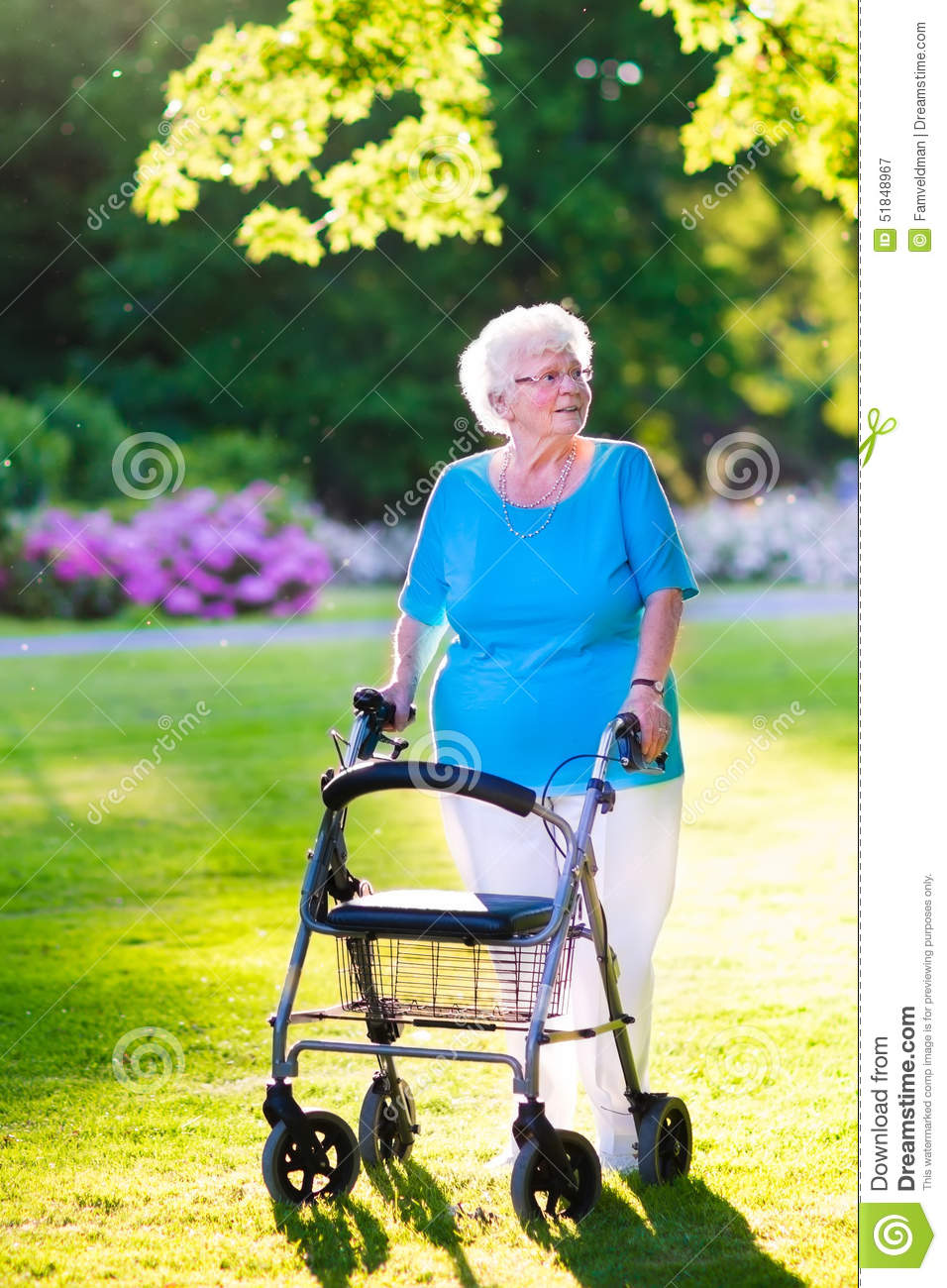 senior citizen chair used lift chairs lady with a walking aid in the park stock image - of healthcare, elderly: 51848967