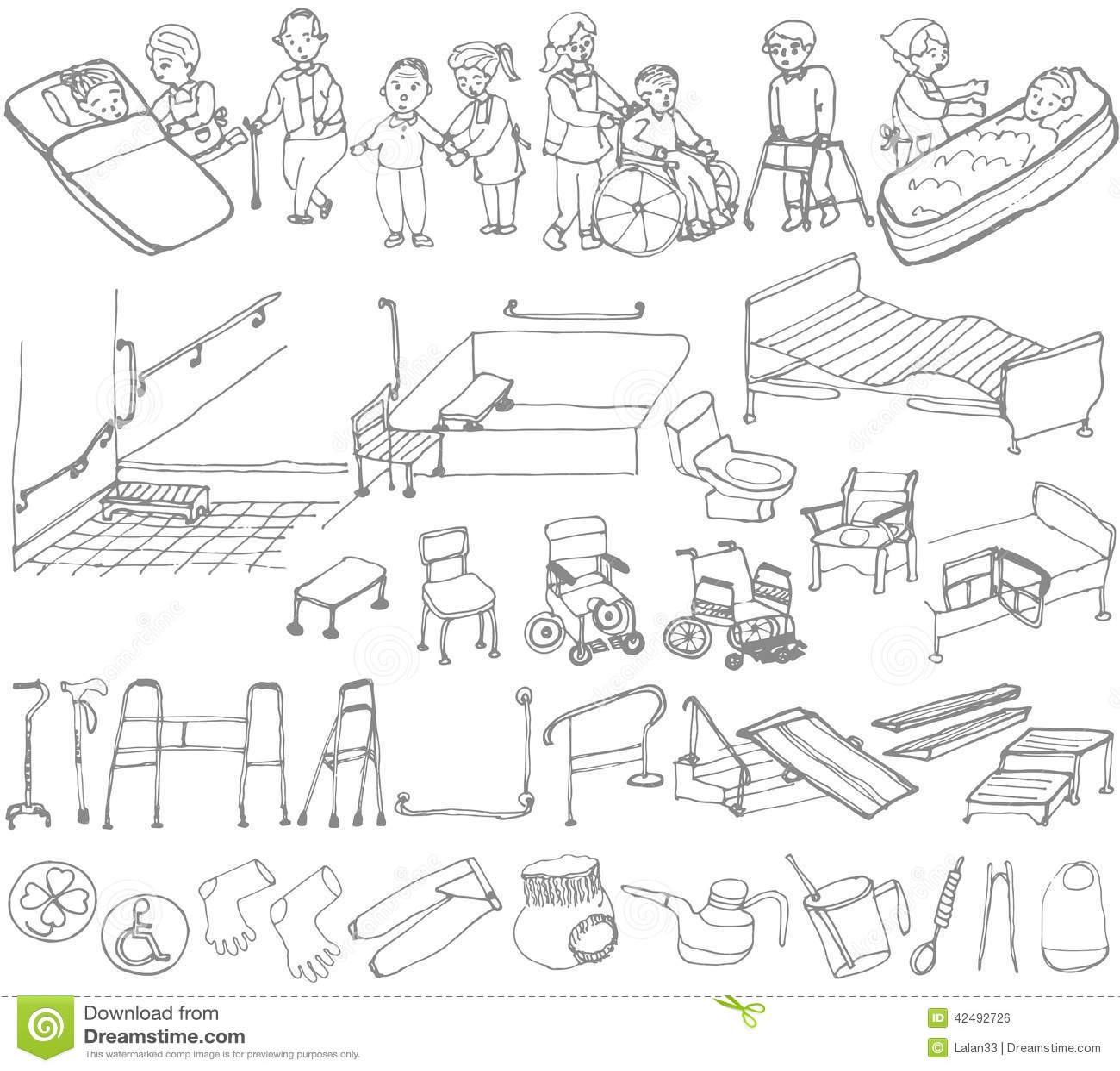 Senior Welfare Stock Vector Illustration Of Handicapped