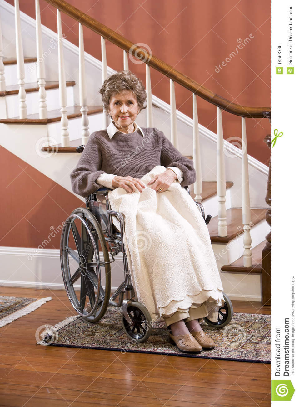 Senior Woman At Home Sitting In Wheelchair Stock Photo  Image 14563760