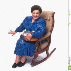 Old Lady Chair Osaka Massage Senior Woman With Knitting On Rocking Stock Photo
