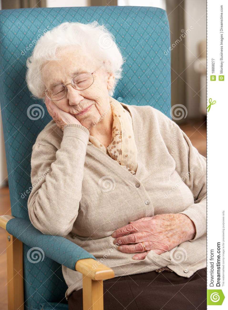 Senior Woman Resting In Chair Stock Image  Image of