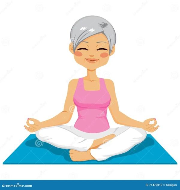 Senior Woman Yoga Stock Vector. Illustration Of Adult