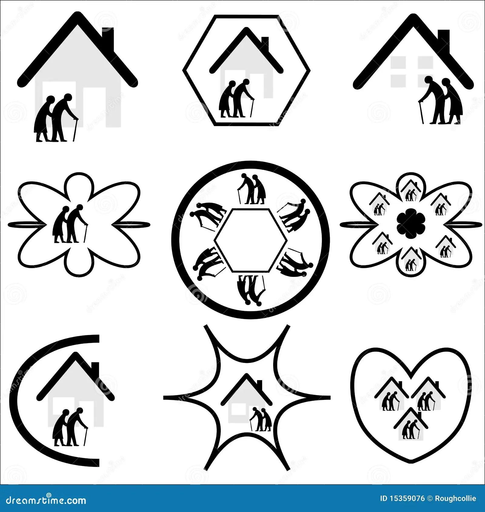 Seniors Elderly Housing Logo Set Royalty Free Stock