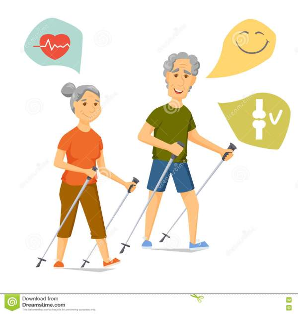 Physical Activity Seniors. Vector Illustration
