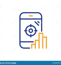 seo phone line icon search engine optimization sign aim target symbol colorful outline concept blue and orange thin line color seo phone icon vector [ 1600 x 1383 Pixel ]