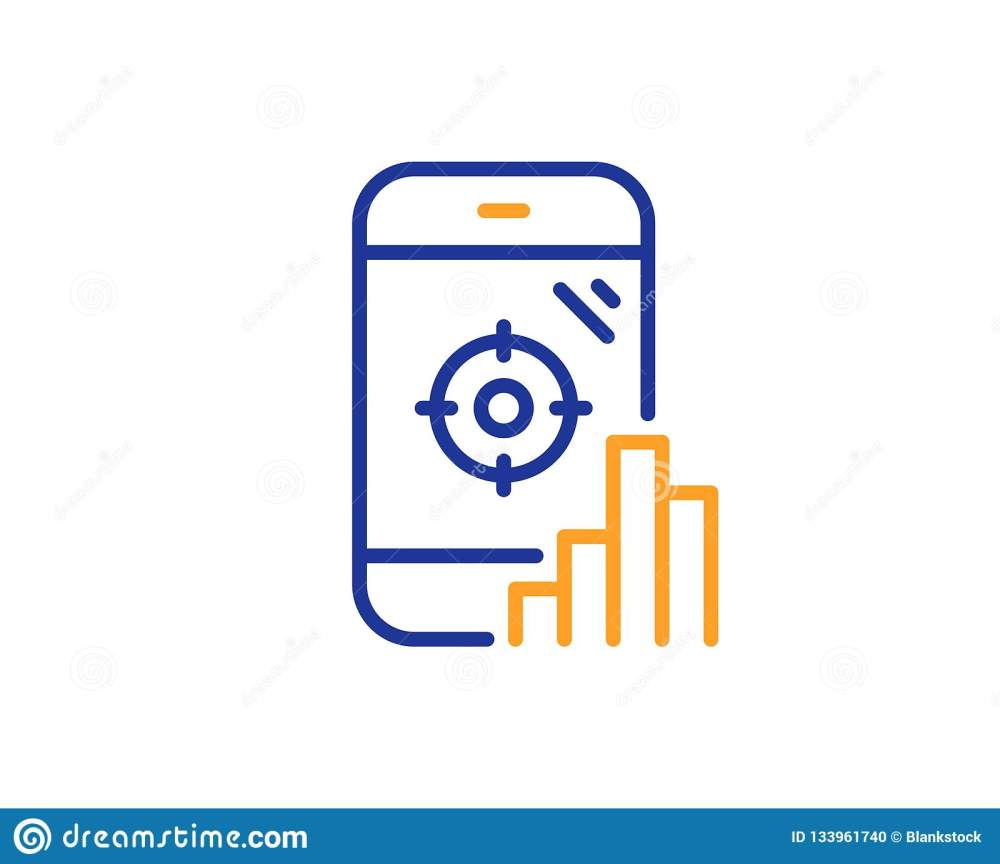 medium resolution of seo phone line icon search engine optimization sign aim target symbol colorful outline concept blue and orange thin line color seo phone icon vector