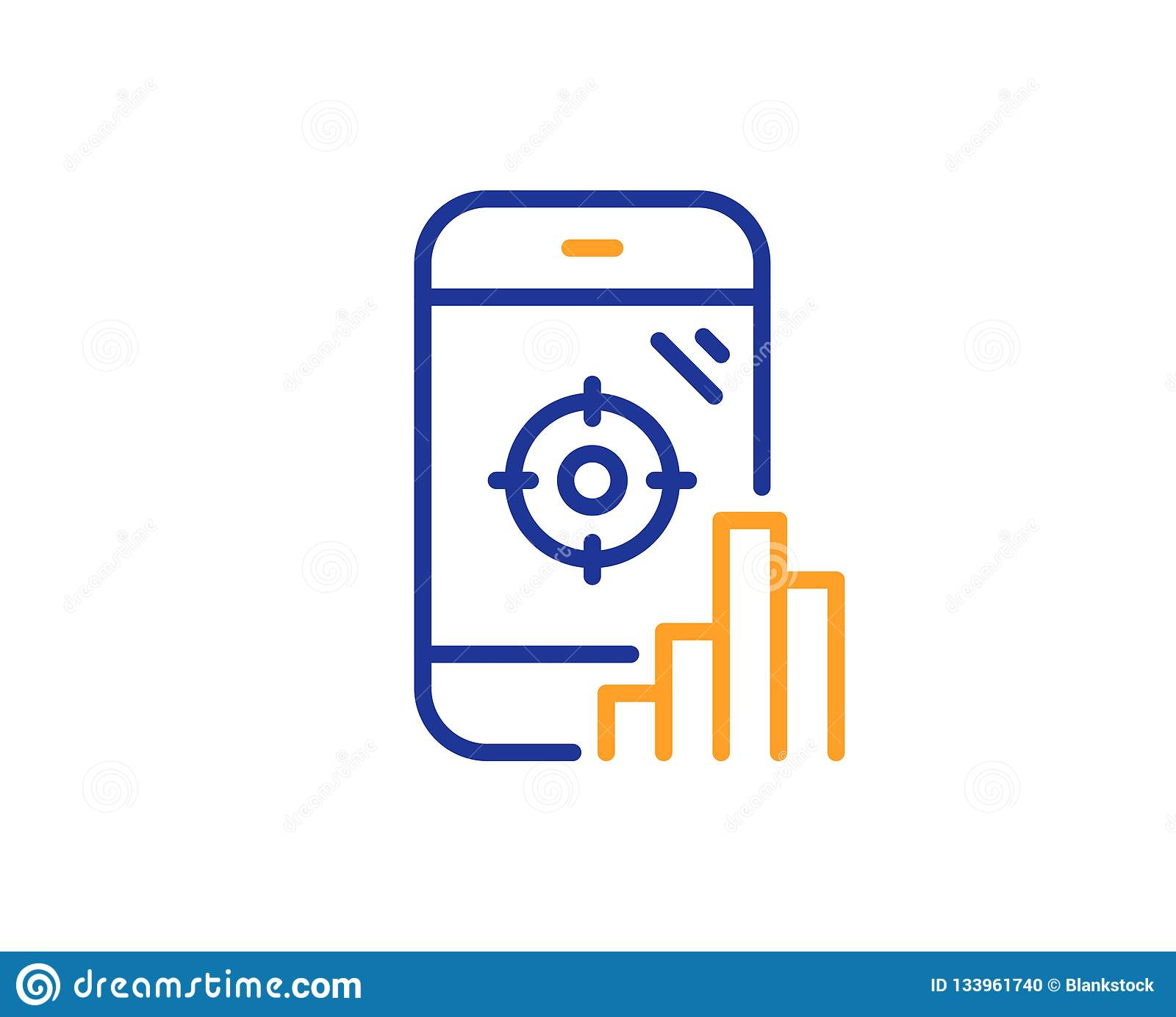 hight resolution of seo phone line icon search engine optimization sign aim target symbol colorful outline concept blue and orange thin line color seo phone icon vector