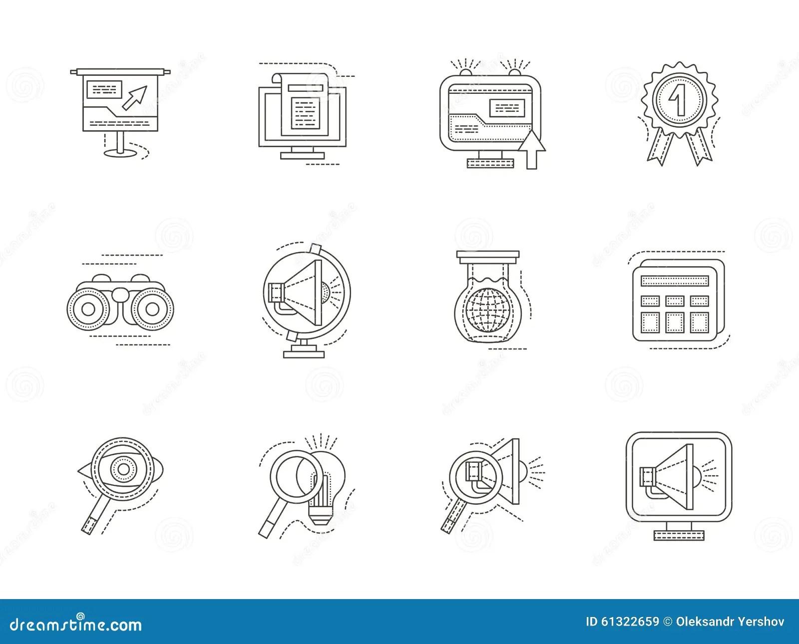 Seo Thin Line Icons Set Stock Illustration Illustration