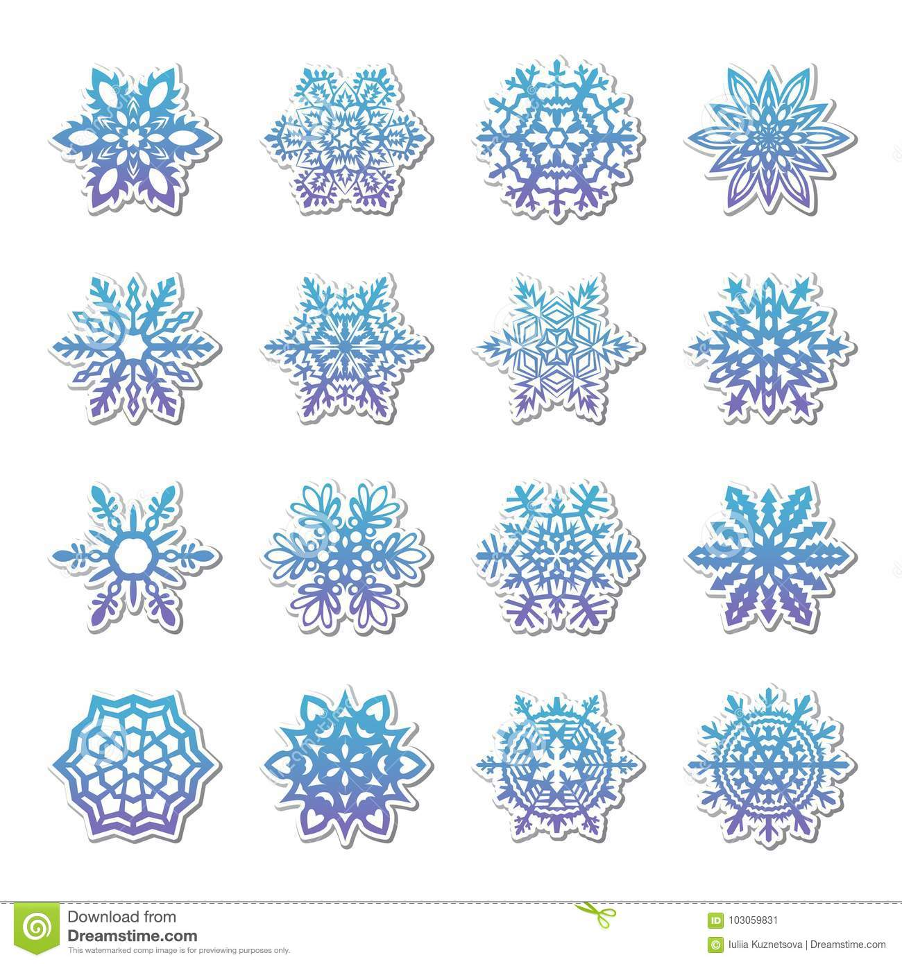 hight resolution of separate snowflakes doodles vector rustic christmas clipart new year snow crystal illustration in flat style