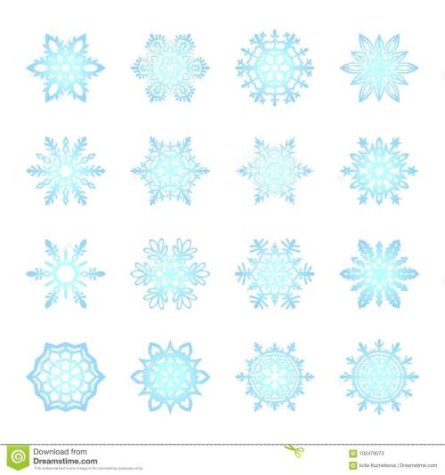 small resolution of separate snowflakes doodles vector rustic christmas clipart new year snow crystal illustration in flat style