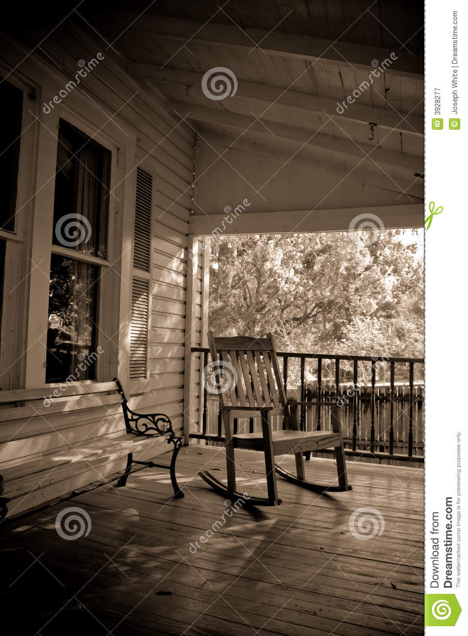 Sepia Old Time Country Porch Royalty Free Stock