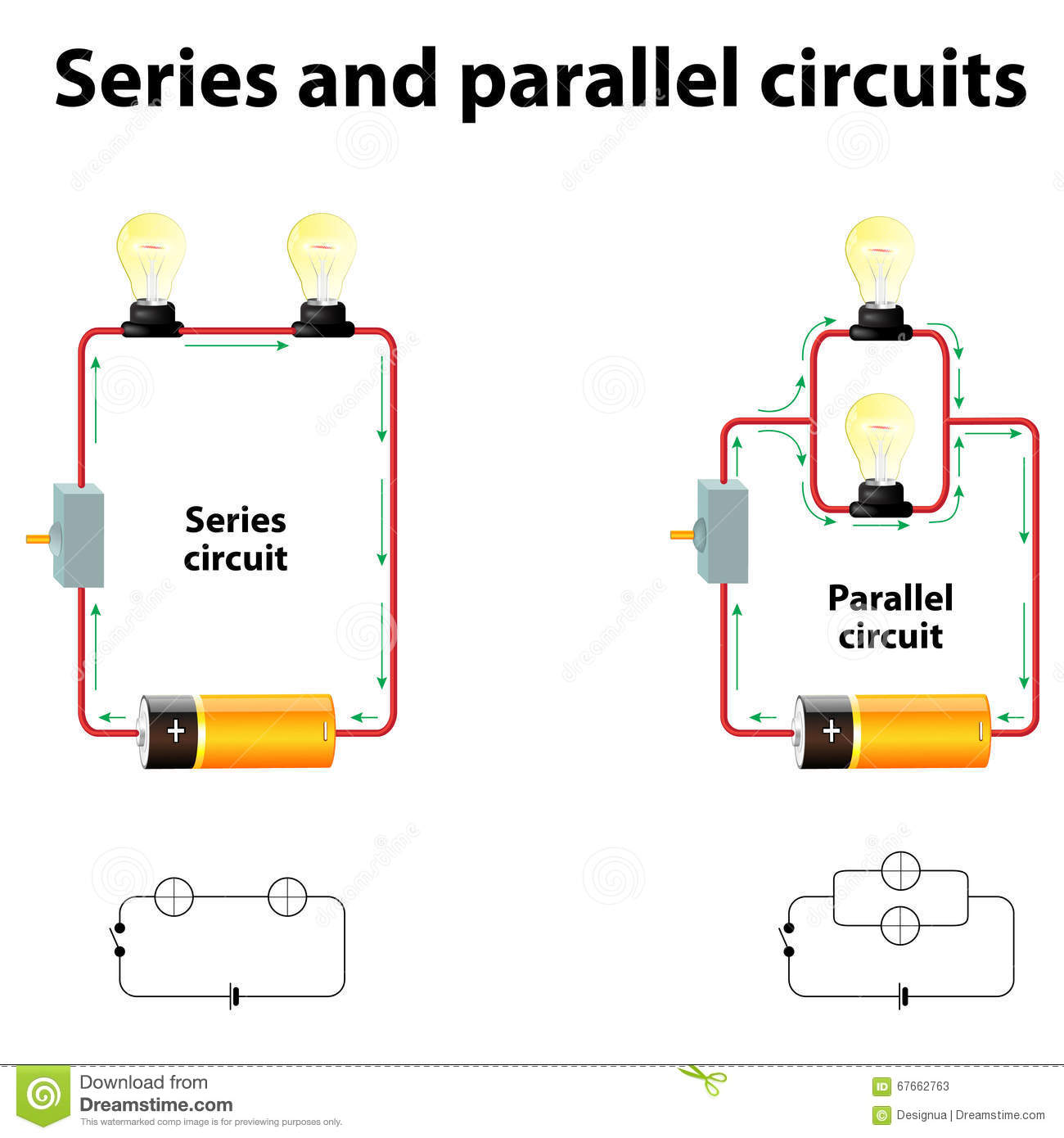hight resolution of series and parallel circuits in series are connected along a single path so the same current flows through all of the components