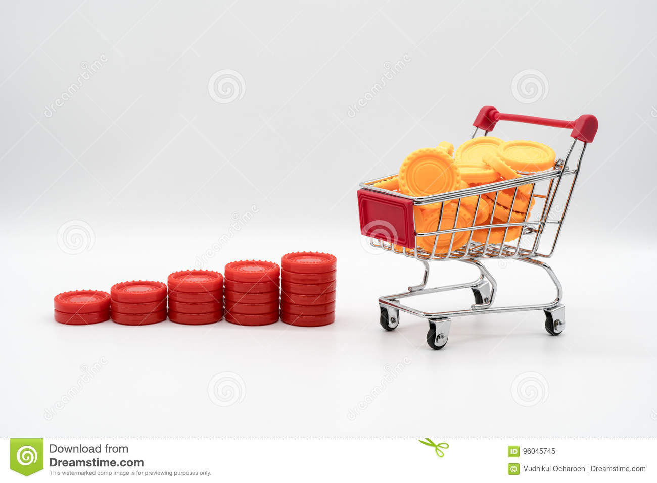 Series Of Red Coin Rising Stacks Next To Shopping Cart
