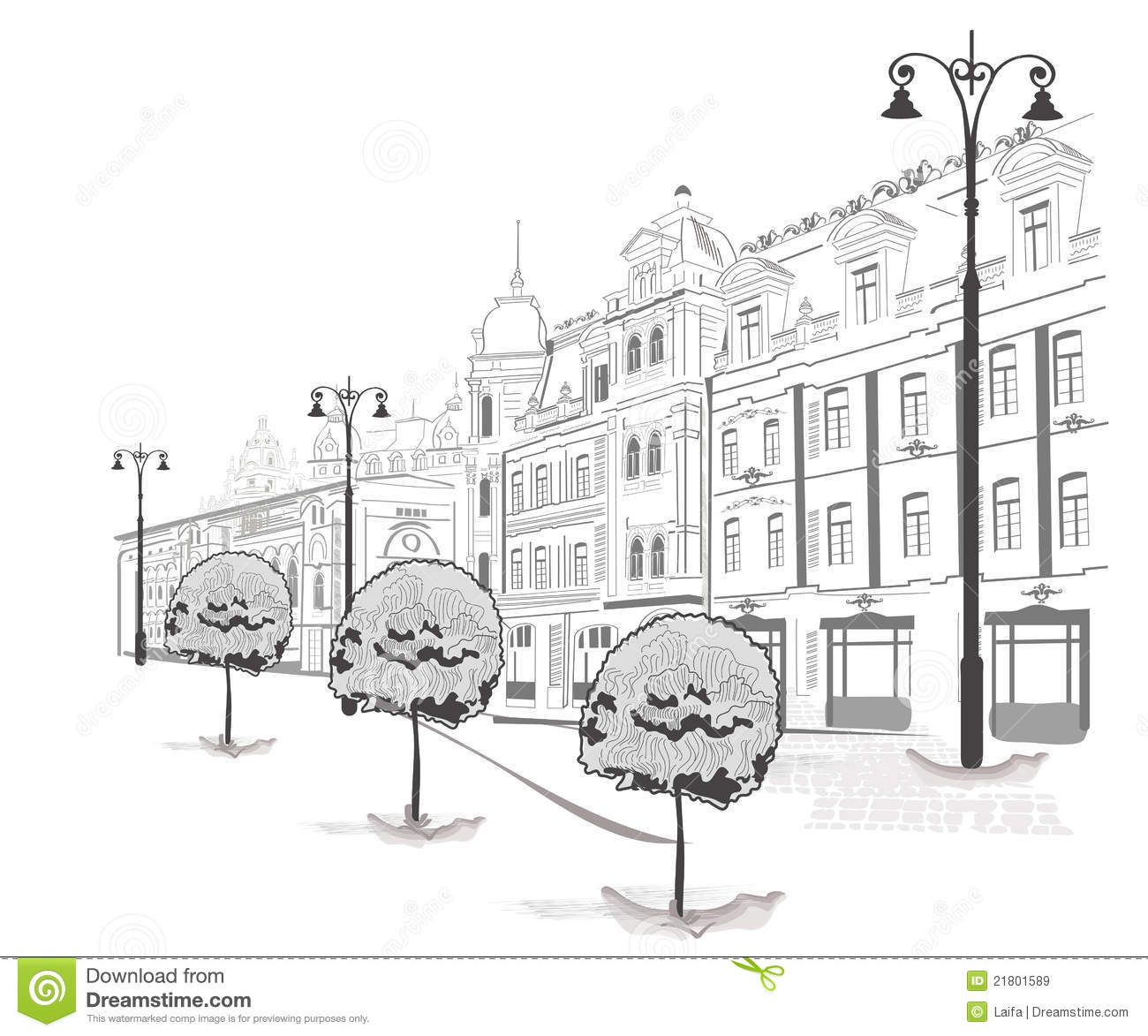 Series Of Sketches Of Streets In Old City Stock Vector
