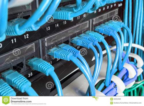 small resolution of server rack with green internet patch cord cables connected to patch panel in server room