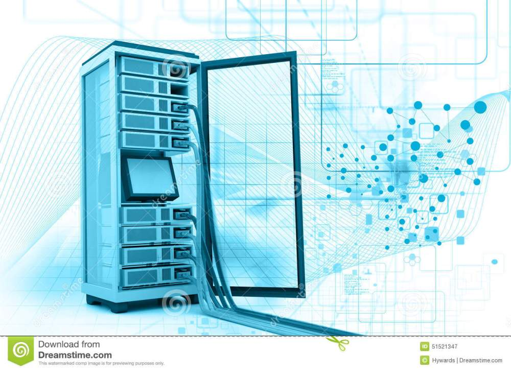 medium resolution of server rack with network cables