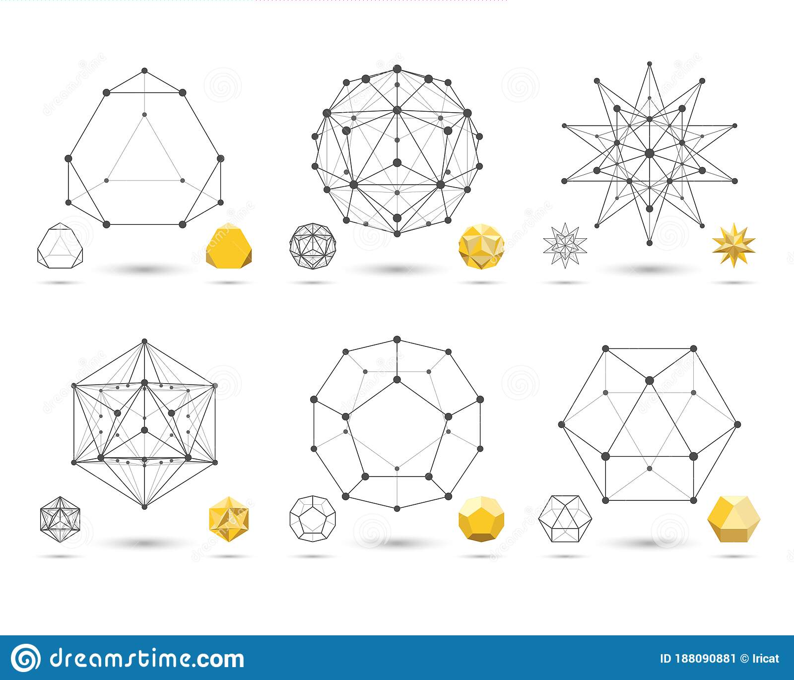 Set Of Abstract 3d Geometric Shapes From Triangular Faces