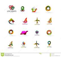 Set Of Abstract Travel Logo Icons. Business App Stock