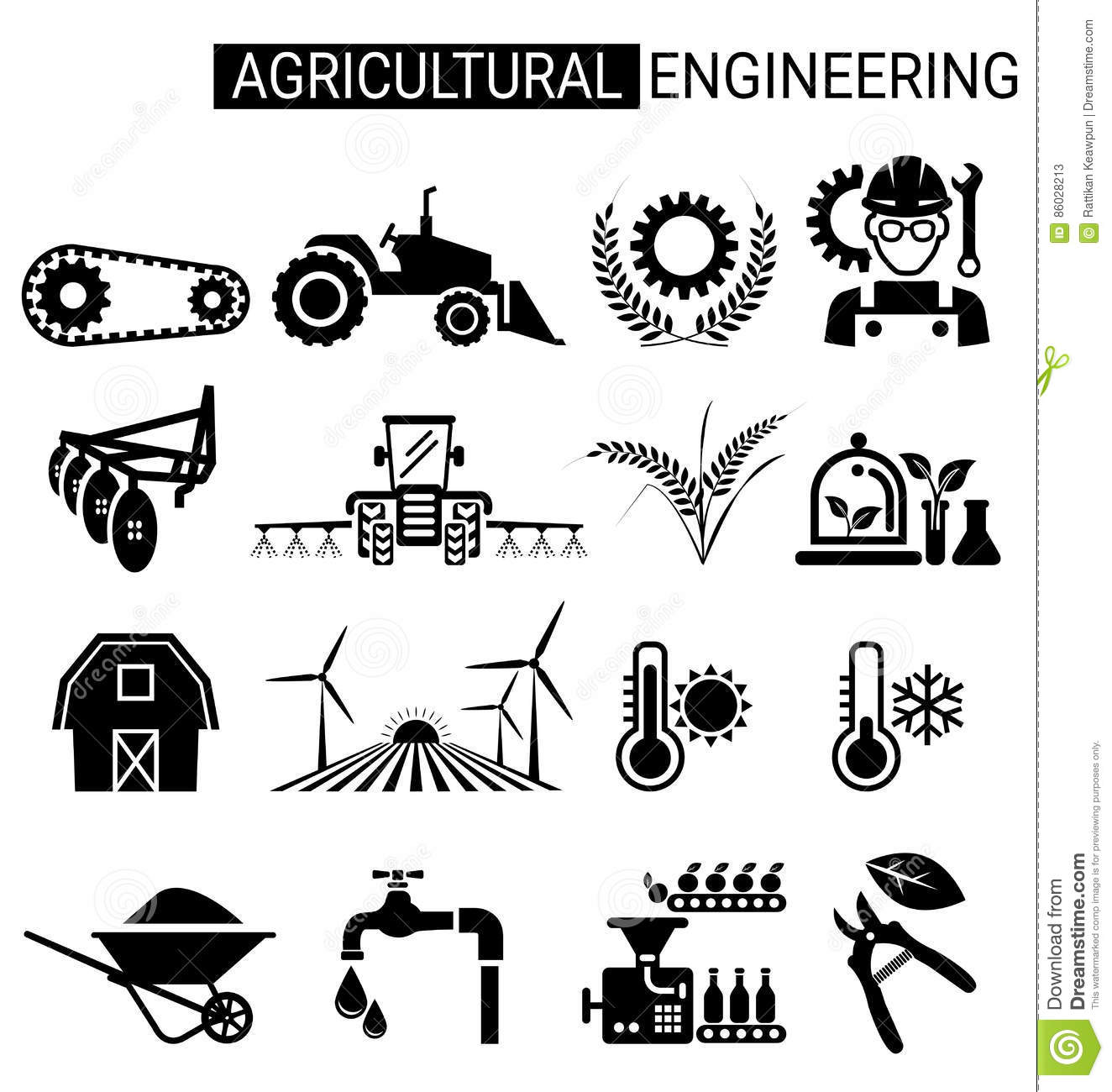 Set Of Agricultural Engineering Icon Design For