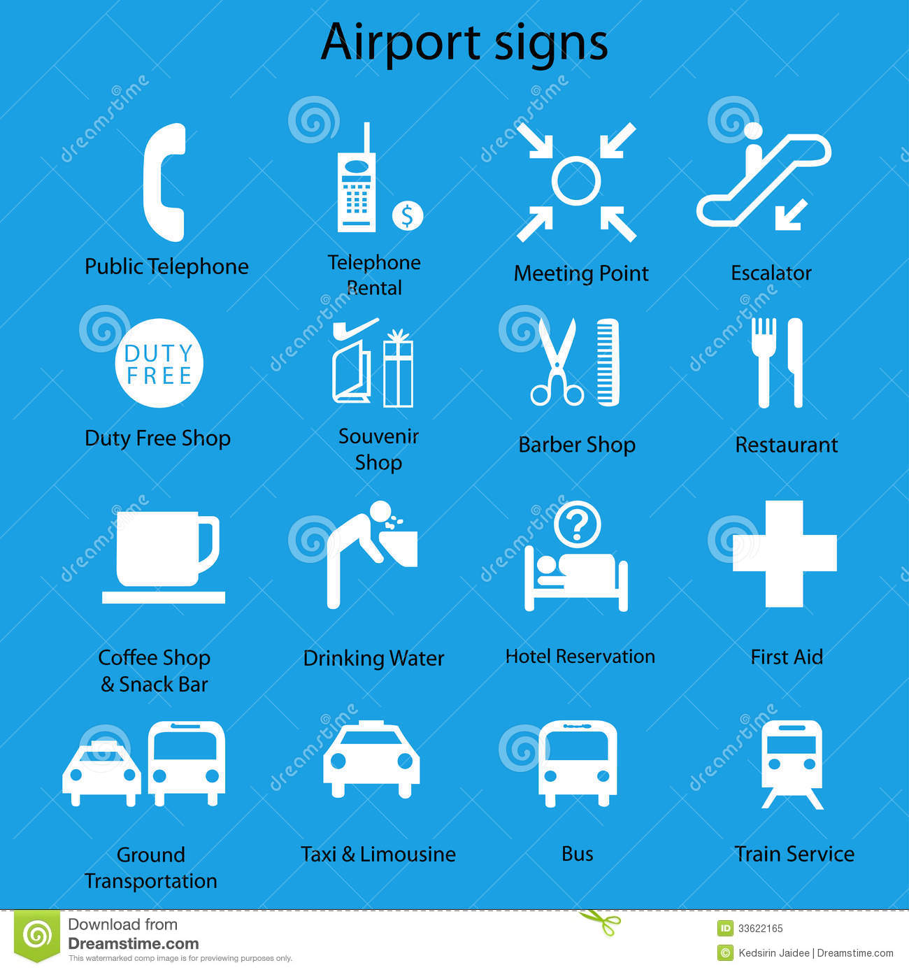 Set Of Airport Signs And Symbols On Blue Royalty Free