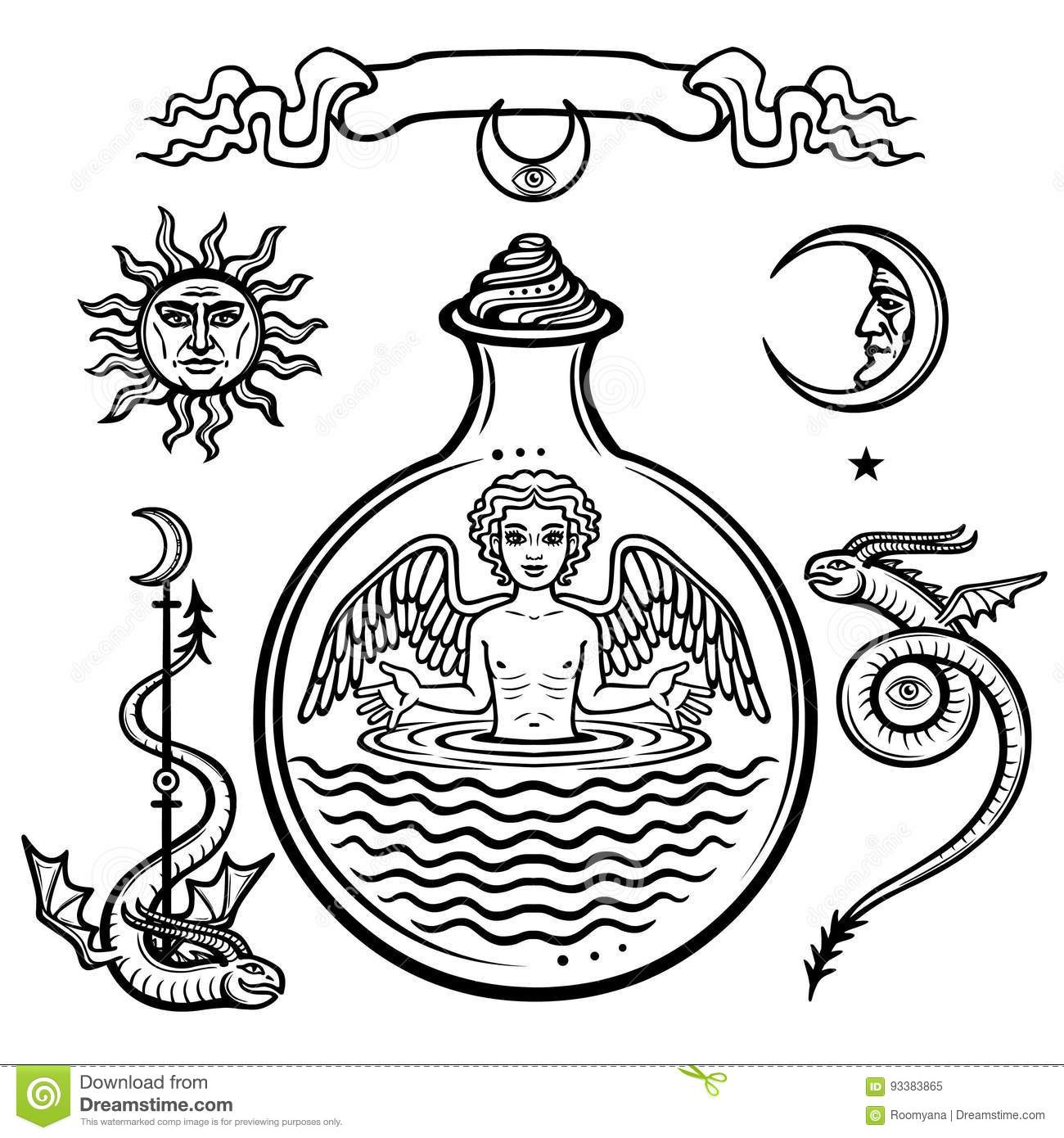 Set Of Alchemical Symbols. Child In A Test Tube, The