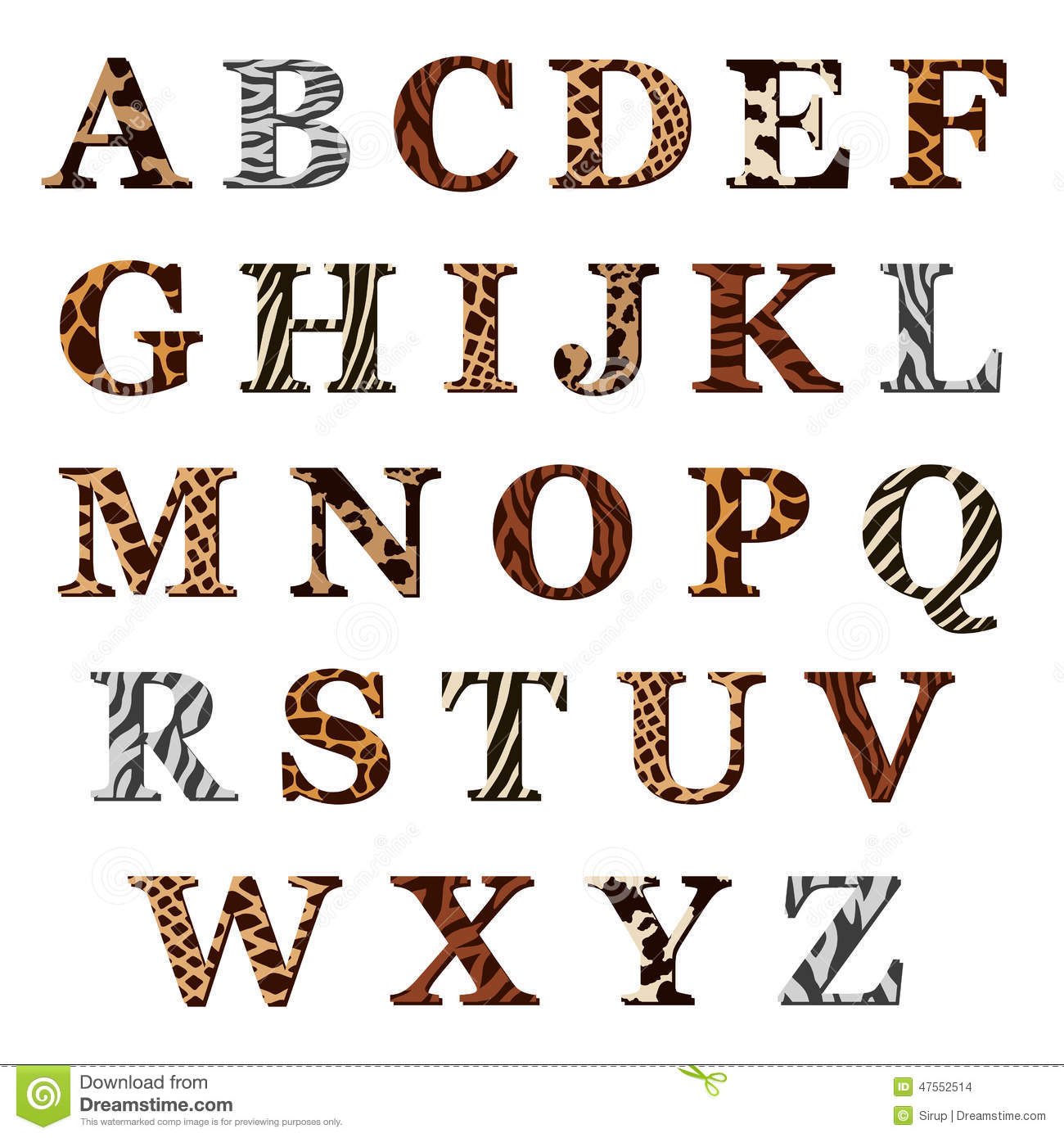 Set Of Alphabet Letters With Animal Fur Patterns Stock