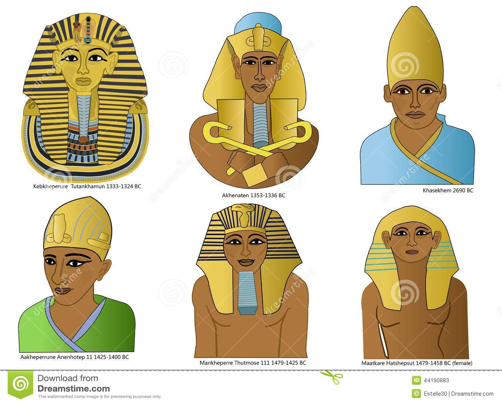 A Set Of Ancient Egyptian Pharaohs Stock Illustration
